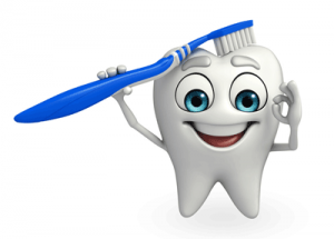 A cartoon of a tooth with a tooth brush